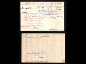 Arthur Hayward's Medal Card