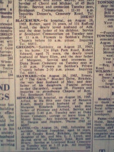 Hayward Ernest Death Notice
